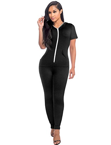Sedrinuo Short Sleeve Bodycon Front Zipper Hooded Long Pants Sexy Rompers Playsuits