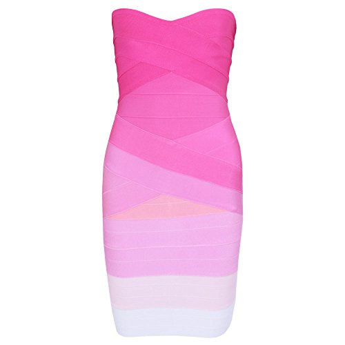 Strapless Rosa Mini Bandage Sexy Bodycon Women's Dress HLBandage Gradiente AEwBqSEz8