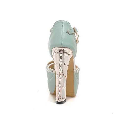 Heels 1TO9 Material Soft Sandals Electroplate Heel High Ladies Blue IqPCxRwqT