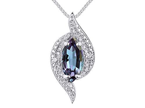 RYLOS Simply Elegant Beautiful simulated Alexandrite/Mystic Topaz & Diamond Pendant/Necklace - June Birthstone