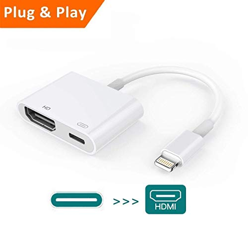 Ligthting to HDMI Digital AV Adapter with Charging Interface Compatible w/Phone Xr Xs Max X 8 7 Plus 6 6s(White)