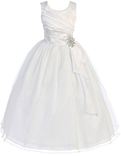 (First Communion Flower Girls Dress Satin Surplice Top Double Layer Big Girl White 12 CB.303)