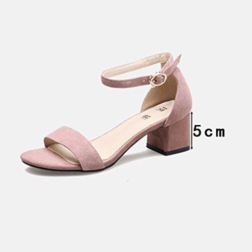 de tacón tacón de de alto tacón una 40 alto Color salvajes Temporada mujer de de palabra tacón medio de ZCJB Zapatos Zapatos Sandalias rosa grueso de Zapato deducción verano para Tamaño xwtq7nYcH