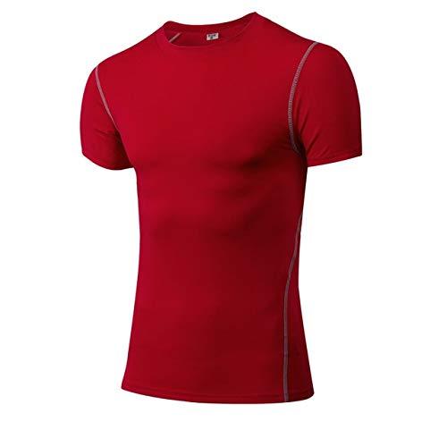 1003rouge M NUASH Séchage Rapide Compression Sport Shirt Hommes FonctionneHommest Fitness T Shirt Serré Football Basketball Jersey Sportswear