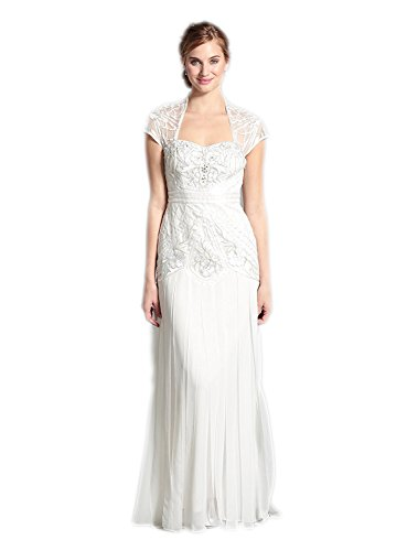 Sue Wong Women's Sweetheart Cap Sleeve Beaded Embellished Gown, Ivory, 2 US