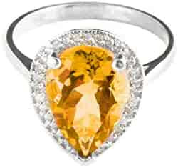 💎Galaxy Gold💎 14k Solid White Gold Teardrop Natural Citrine and Diamond Ring