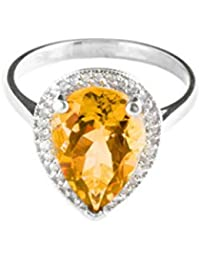 14k Solid White Gold Teardrop Natural Citrine and Diamond Ring