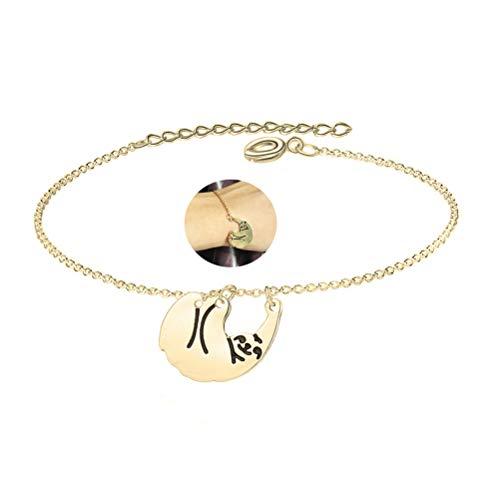 Animal Gold Bracelet - MUZHE Gold Silver Sloth Charm Necklace - Stylish Cute Animal Peandant Jewelry (Gold Bracelet)