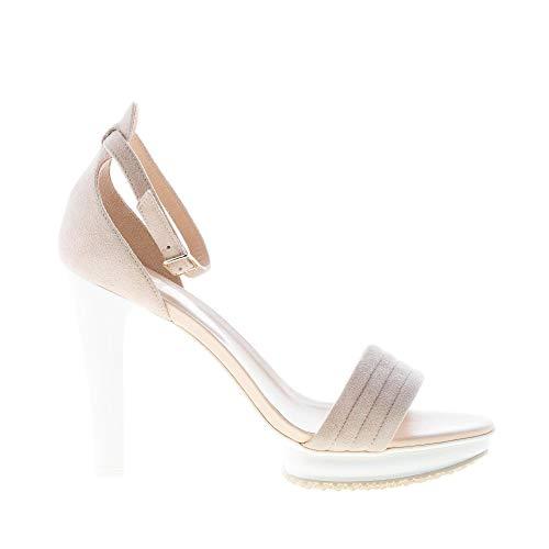 Ankle Beige Plateau Sandal Strap Shoes D'Orsay Beige Hogan Women Silhouette Suede xqAInwn4B