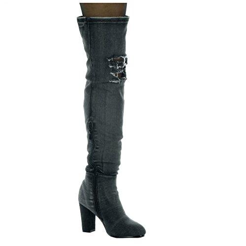 Boot Denim 8 damen Schuhe 5 Schwarz Angkorly Kavalier CM heel Jeans Flexible Reitstiefel Oberschenkel zerrissene high Blockabsatz t0TSxnOq