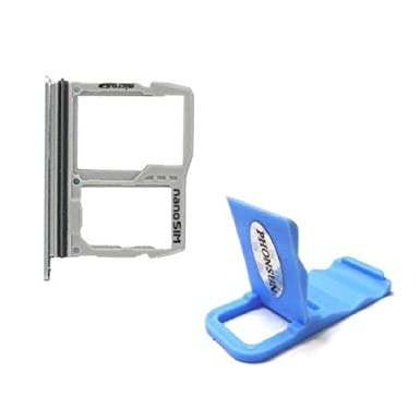 Nano Sim Micro SD Card Holder Tray Replacement for LG G6 H870 H871 H872 LS993 US997 VS988 + PHONSUN Portable Cellphone Holder (Silver)
