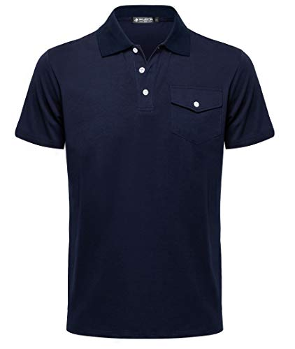 Musen Men Polo Shirts Classic Shirts Short Sleeve Sport T-Shirts Cotton Slim-fit Tops Golf Polos for Men Navy Blue L