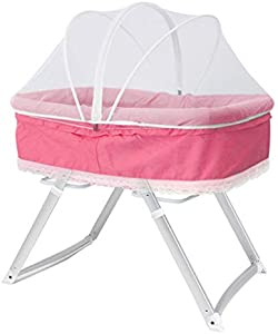 Rocking Chair 2 in 1 Travel Crib for Baby Kids Rocking Sleeping Basket Bed Infant Swing Cradle Portable Baby Bedside Folding Travel Cot Bed (Color : Pink)