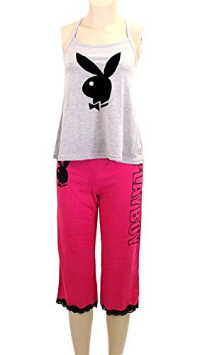 ScarvesMe Playboy Licensed Black Bunny Face Graphic Print Pajama Set (M)