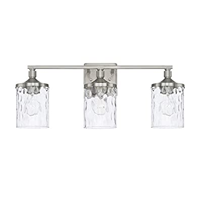Capital Lighting 128831BN-451 Homeplace/Colton - Three Light Bath Vanity, Brushed Nickel Finish with Clear Water Glass