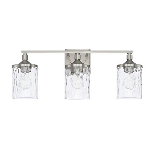 Nickel Finish Bath Fixture - Capital Lighting 128831BN-451 Homeplace/Colton - Three Light Bath Vanity, Brushed Nickel Finish with Clear Water Glass