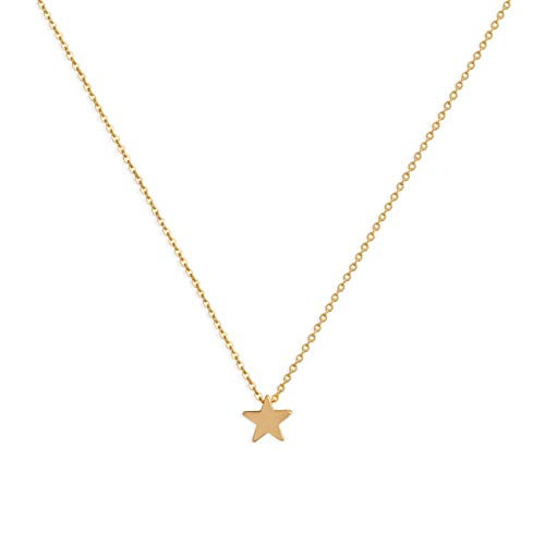 Valloey Rover Gold Star Necklace,Dainty 14K Gold Filled Sterling Silver Round Dot Tiny Heart Little Star CZ Choker Necklace Jewelry Gift for Women(NCK-Gold-Star)