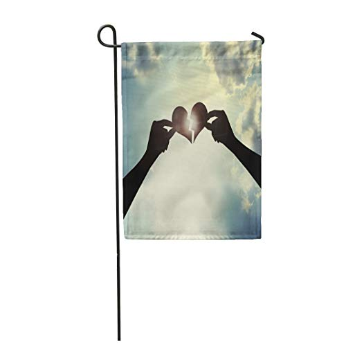 Semtomn Garden Flag 12x18 Inches Print On Two Side Polyester Love Heal Broken Heart Combine Finger Hand Holding Light Positive Ray Home Yard Farm Fade Resistant Outdoor House Decor Flag -