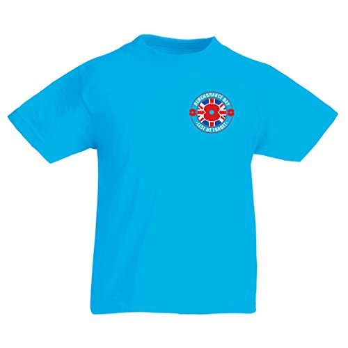 lepni.me T Shirts for Kids for 11 th of November - Remembrance Day Poppy - Lest we Forget! (12-13 Years Light Blue Multi Color)