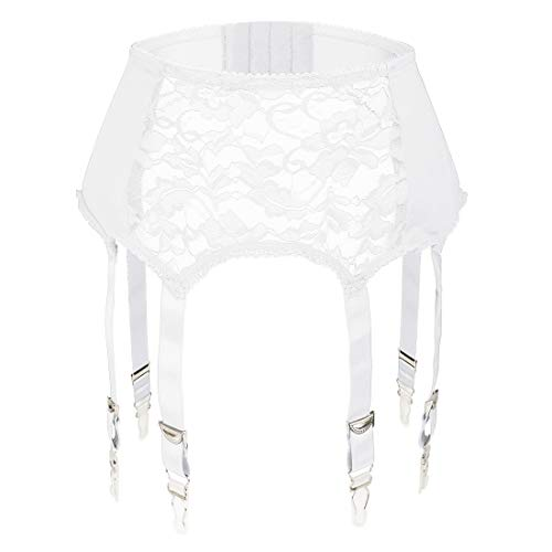 Slocyclub Women Lace Garter Belt with 6 Straps Metal Clip Suspender for Stockings/Lingerie(White,M)