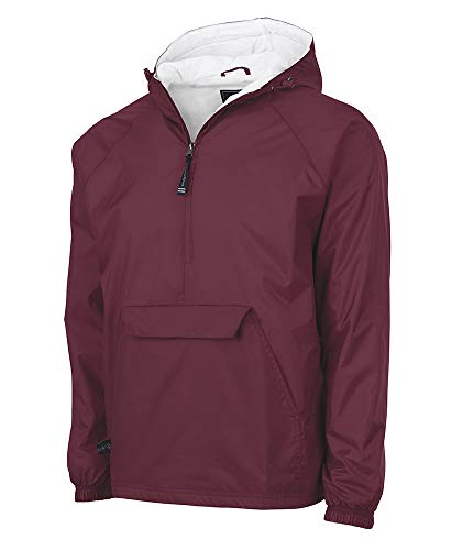- Charles River Apparel Wind & Water-Resistant Pullover Rain Jacket (Reg/Ext Sizes), Maroon, 3XL