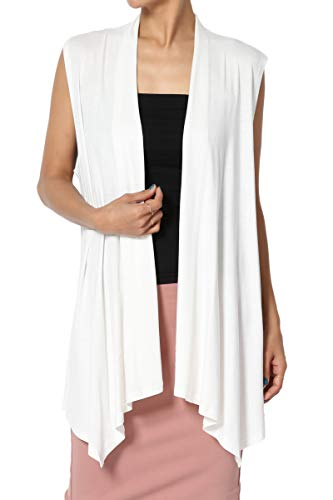TheMogan Women's Sleeveless Waterfall Jersey Cardigan Asymmetric Vest Ivory 3XL (Plus Size Sweater Vests)