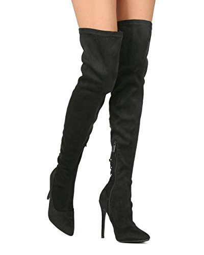 eacdf79f615 Alrisco Women Faux Suede Thigh High Pointy Toe Hind Lace Up Stiletto Boot  HE39