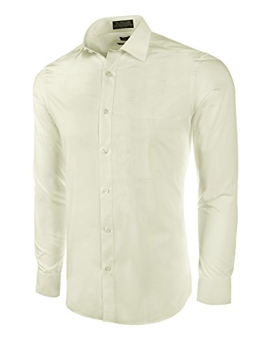 Marquis Slim Fit Dress Shirt - Off-White,Large 16-16.5 Neck 32/33 ()