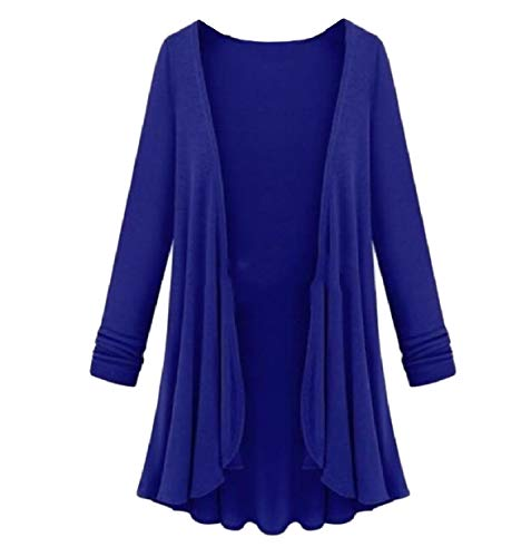 Top Women Cardigan Blue Long Oversized Knit XINHEO Sapphire Sleeve Relaxed Coat Autumn 6c8qdFFy