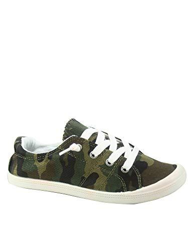 FZ-Comfort-01 Women's Cute Comfort Slip On Flat Heel Round Toe Sneaker Shoes (5.5 B(M) US, Camouflage)