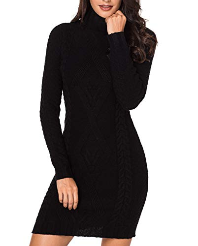 Azokoe 2018 Knit Sweater Dress for Women 2018 Winter Casual Slim Fit Chunky Turtleneck Pullover Cable Knit Sweater Mini Bodycon Dress Black XL