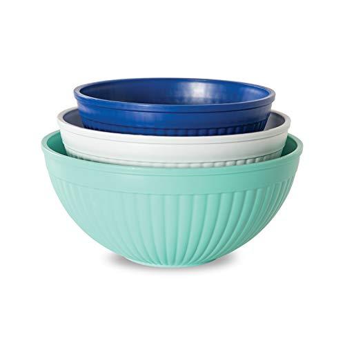 Nordic Ware 69503 Prep & Serve Mixing Bowl Set, 3-pc, Set of 3, Coastal Colors (Bowl Serve)