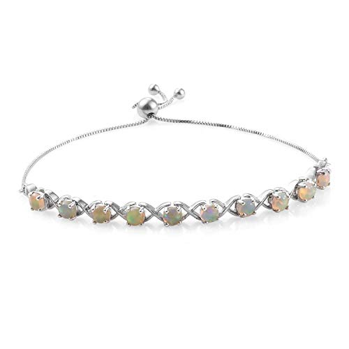 925 Sterling Silver Platinum Plated Round Opal Bolo Bracelet for Women Gift Jewelry Adjustable