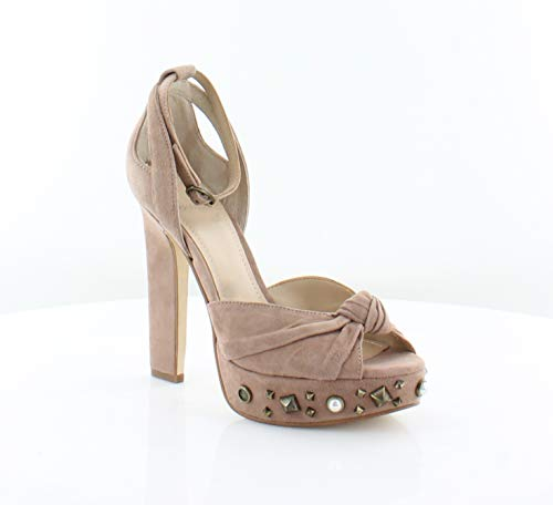GUESS Women's Kenzie Blush Suede 7 M - Pumps Peep Toe Knotted
