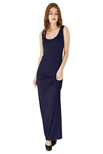 YMING Solid Color Maxi Dress for Women Elegant Bodycon Tank Long Dress Navy Blue 2XL ()