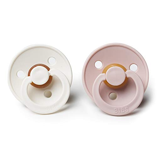 BIBS BPA-Free Natural Rubber Baby Pacifier | Made in Denmark (Blush/Ivory, 0-6 Months) 2-Pack