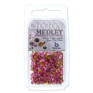 (Preciosa Chaton Medley Mix Rose 2.5mm to 4.75mm Pointed Foil Back Round Crystal Setting Stones 5 Grams)