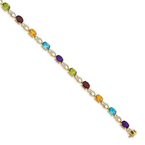 Lex & Lu 14k Yellow Gold Rainbow Gemstone/Diamond Bracelet
