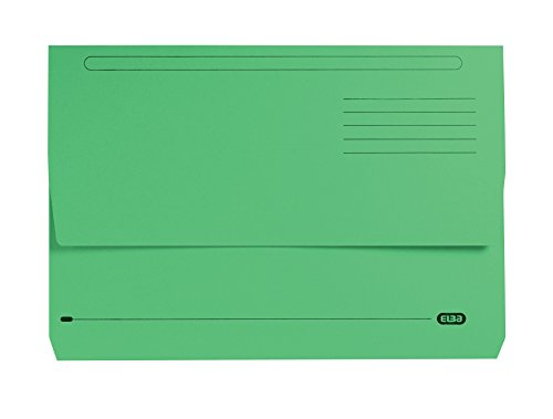 Elba Foolscap 32 mm Capacity Strongline Half-Depth Flap Document Wallet, 320 gsm Manilla, Green, Pack of 25 by Elba