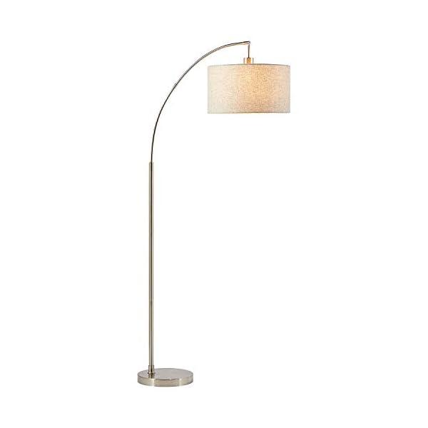 "Rivet Steel Arc Floor Lamp, 69""H, With Bulb, Fabric Shade 2"