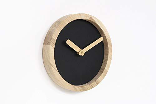 Handmade Black Wooden Wall Clock 9.8 x 9.8 x 1.6 inches