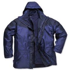 Portwest 3-in-1 Jacket Polyester Zip-pockets Detachable-fleece Medium Navy Ref S570NAVYMED
