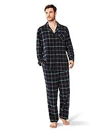 SIORO Mens Flannel Pajamas Sets, 100% Cotton Plaid Sleepwear Soft Long PJ Set