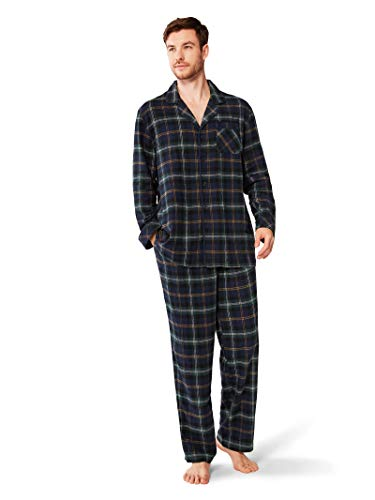 SIORO Soft Pajamas for Men Flannel Cotton Plaid Pajama Sets Long Sleeve Sleepwear Loungewear, Black Watch Plaid, M