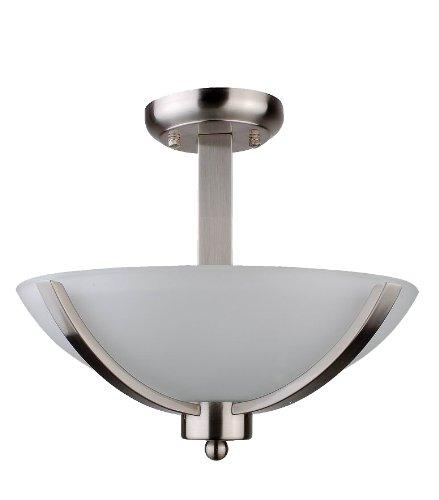 Whitfield SF107-13AWSS Mickayla 13-Inch Two-Light Semi Flush, Satin Steel with Acid Wash Glass