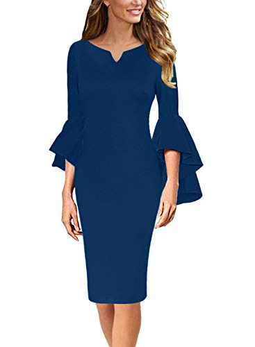 VFSHOW Womens Peacock Blue Notch V Neck Ruffle Bell Sleeves Casual Business Cocktail Party Bodycon Pencil Sheath Dress 3372 BLU 3XL