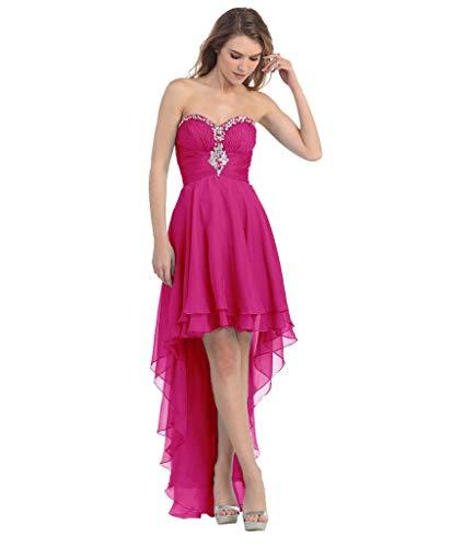 Vorne Abendkleider Partykleider Seidenchiffon Fuchsia Lang Kurz Hinten Elegant LuckyShe Ballkleider 5Xp5w