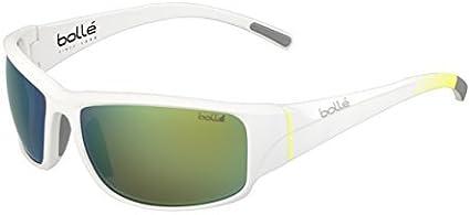 Mt 12343 Brown Emerald Lens Bolle Keelback Sunglasses White w// Pop Stripes