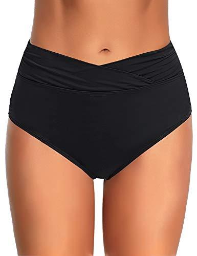 Utyful Women's Elastic Mid Waist V Front Full Coverage Bikini Bottoms Swim Shorts Black Size XL