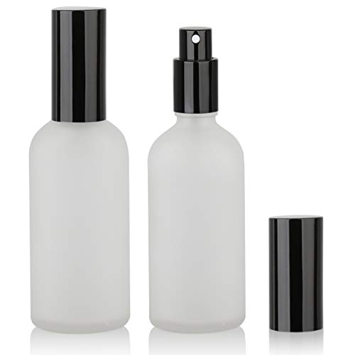 Glass Spray Bottle, Empty Fine Mist Spray Bottle, Perfume Atomizer, Black metal Sprayer (4oz 2Pack)